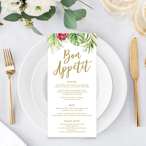 Tropical wedding menu card with gold heading, tropical flowers