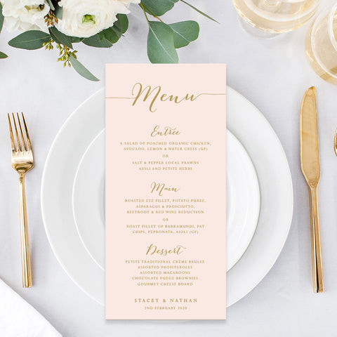 Blush pink and gold wedding menu, single or double sided, calligraphy