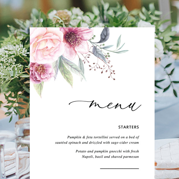 Wedding menu with pink flowers in corners and calligraphy