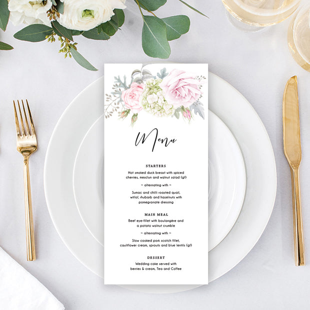 Wedding menu with large watercolour floral bouquet and modern script font, single or double sided printing, printable menu cards
