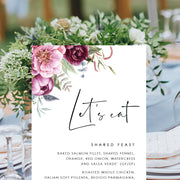 Wedding Event Menu Card with Burgundy and Pink Florals, single or double sided, professionally printed or printable menu cards
