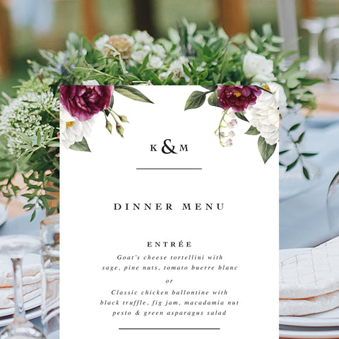 Formal wedding menu with burgundy and white flowers in corners of menu, professionally printed in Australia or printable menu cards