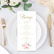 Wedding menu with blush watercolour florals and gold calligraphy text, single or double sided printing or printable menu