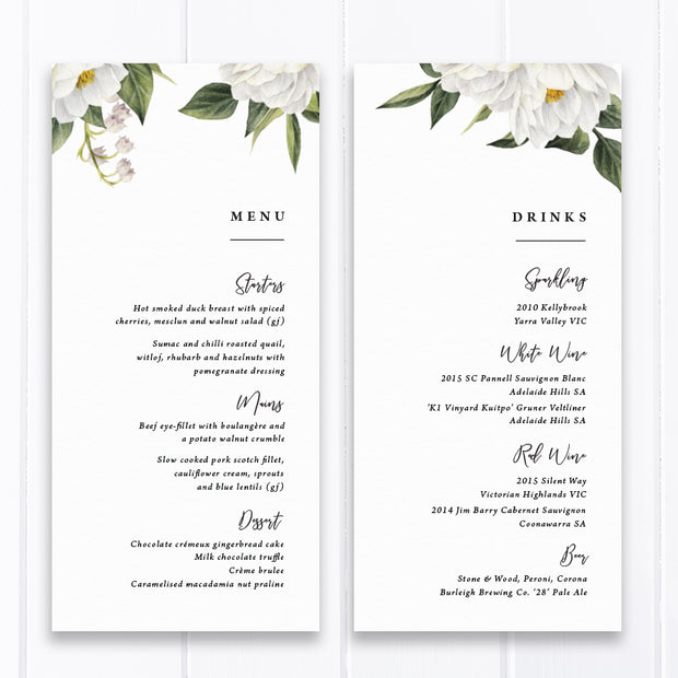 Wedding menu with white florals and green leaves, modern font styles, professionally printed in Australia or printable menu cards