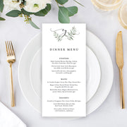 Wedding menu in Natural style with rustic green leafy monogram, Single or double sided printing or printable menus