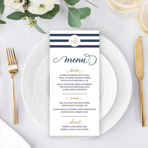 Nordic Navy - Wedding Menu