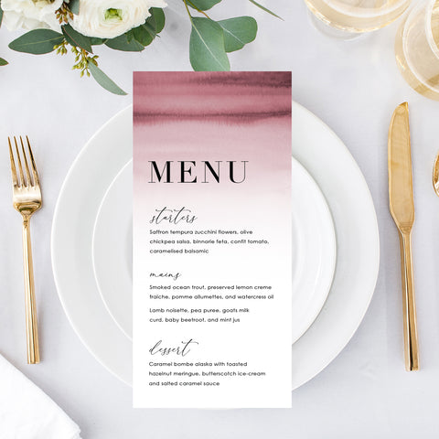 Beautiful wedding menu in two sizes, printed both sides, with deep pink watercolour ombre background and minimal font styles