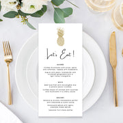 Wedding menu in black and gold, tropical gold pineapple, professionally designed and printed or printable menu card