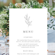 Rachel - Wedding Menu