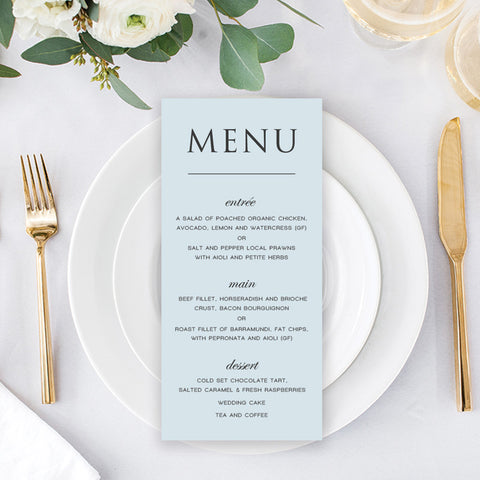 Salt Water - Wedding Menu