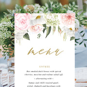Elegant wedding menu card with pink and blush florals and foliage and gold calligraphy, single or double sided, printed or printable menus