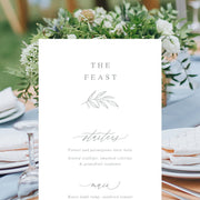 Wedding menu double sided with calligraphy font and leaf detail in soft grey
