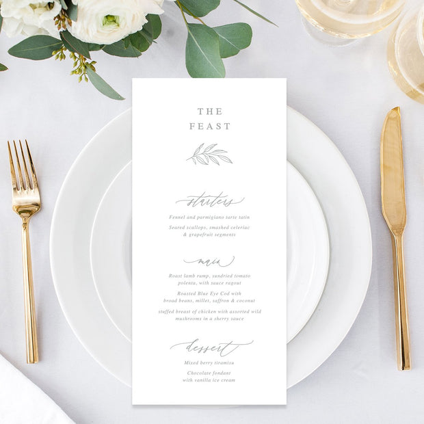 Wedding menu double sided with calligraphy font and leaf detail in soft grey and white