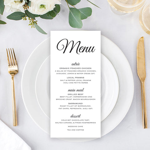 Black and White wedding menu with traditional calligraphy font
