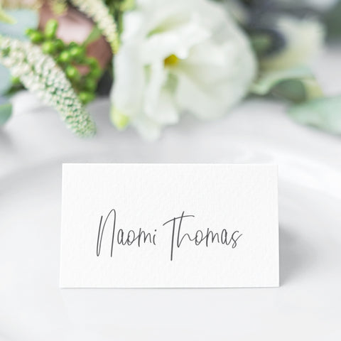Wedding folded place cards or flat name cards and modern hand written script font