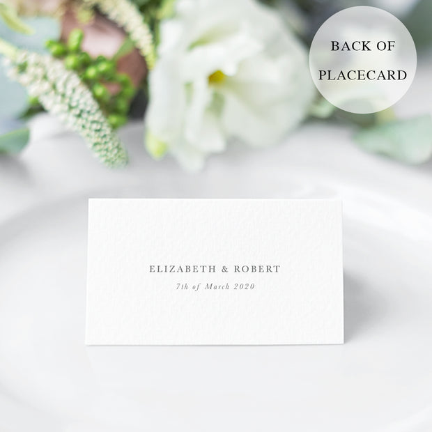 Traditional wedding place card with calligraphy font and table number. Bride and grooms name printed on the back.