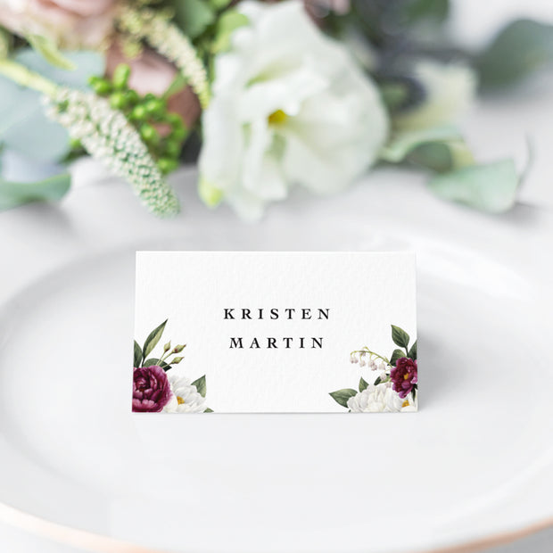 Wedding Place Cards, Name Cards with burgundy red and white flowers in both corners. Designed and printed in Australia.