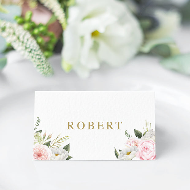 Folded or Flat wedding place cards with soft pink and apricot florals in corners and modern font in gold