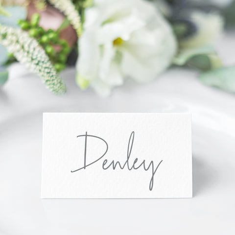 MOdern wedding folded place card with modern font style for the guest name in grey and white, designed and printed in Australia
