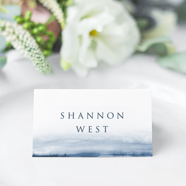 Wedding place card with navy blue watercolour wash and simple, readable font style