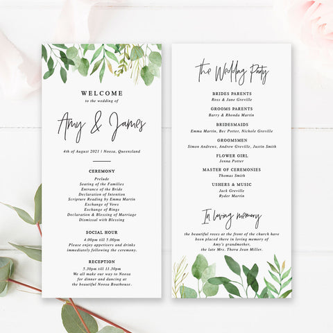 Wedding program, paddle fan program, green leaves and modern script font