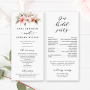 Floral wedding program with calligraphy font. Double sided paddle fan program.