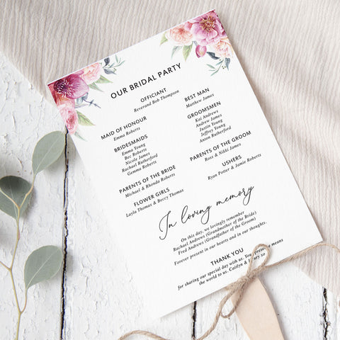 Elegant wedding ceremony program or order of servicedouble sided with pink florals and script font