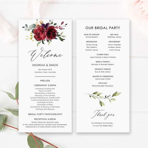 Wedding program, paddle fan program, bold red and pink florals
