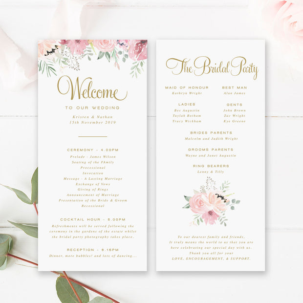 Pink floral watercolour wedding program paddle fan with gold text