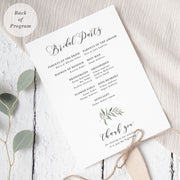 Natural wedding program, double sided paddle fan, monogram with leaf design