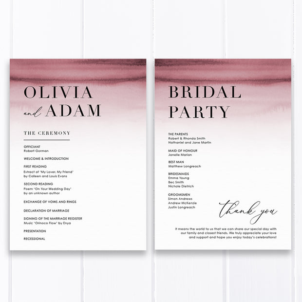 Modern wedding program and order of service with deep pink watercolour ombre background and minimal font styles