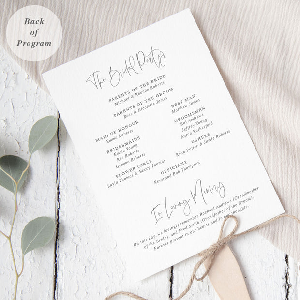 Wedding program in minimal style, grey and white with botanical hand drawn leaf and modern script font