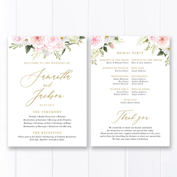 Wedding program with pink flowers, paddle fan program, gold calligraphy font