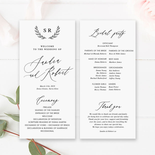 Wedding program with modern calligraphy, hand drawn wreath monogram