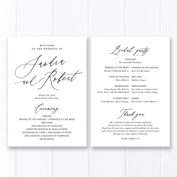 Wedding program with modern calligraphy