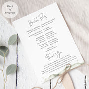 Rustic wedding program with watercolour leaf in soft deep green