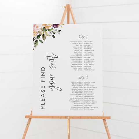 Wedding seating chart board with bohemian vibe, neutral soft watercolour floral wreath and monogram