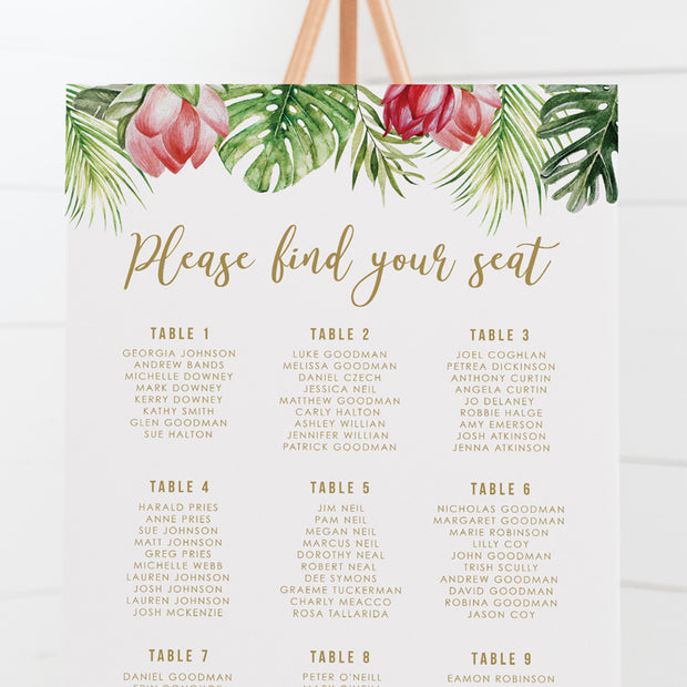 Wedding seating chart with tropical flowers and green leaves, designed and printed in Australia