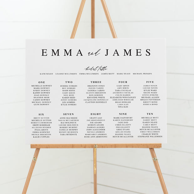 Black and white wedding seating chart, guest name plan sign Australia