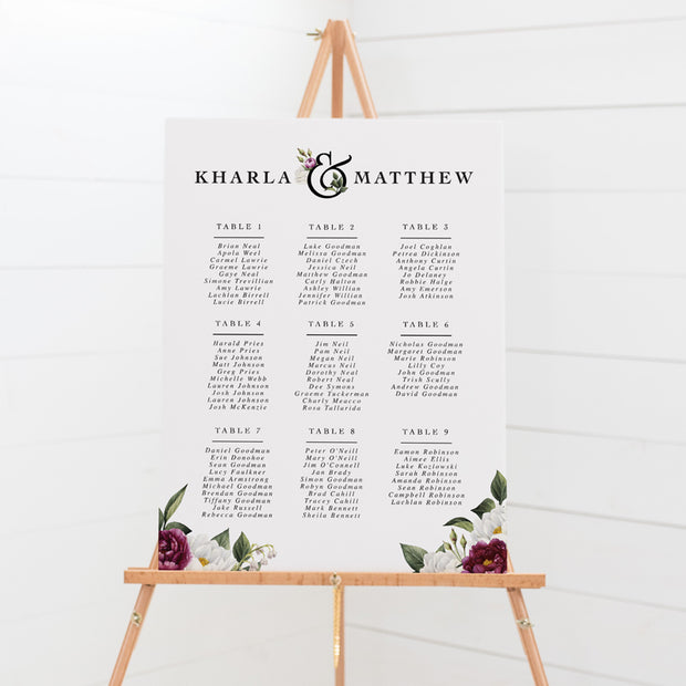Formal wedding seating chart with burgundy and white florals in corners and formal font styles, mounted to foamboard for display on an easel or print your own seating plan.