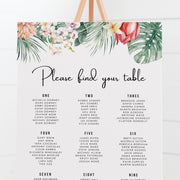 Modern wedding or event seating chart with tropical flowers and watercolour leaves for top banner, and modern upright script font