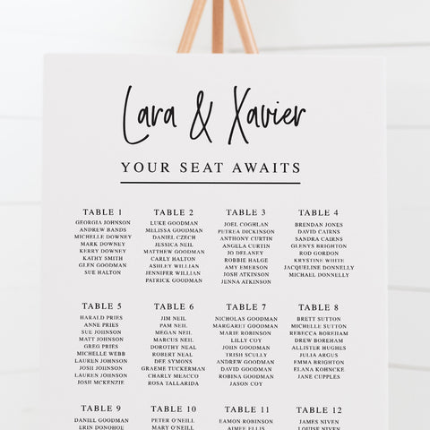 Modern wedding seating chart or guest seating plan. Modern script upright font with your seat awaits as heading. All colours can be adjusted.