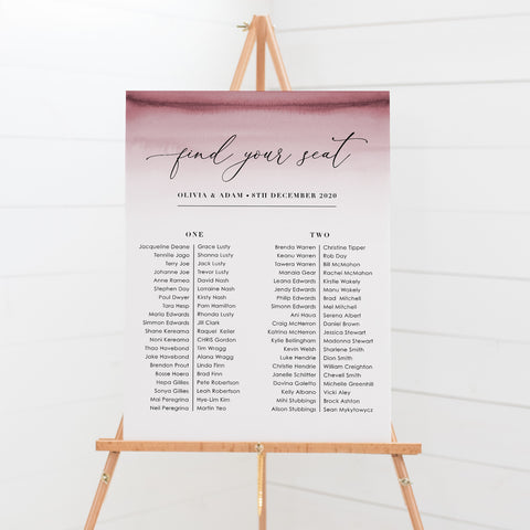 Modern wedding seating chart or guest seating plan with deep pink ombre and modern font styles