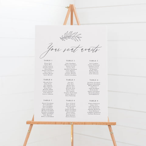 Wedding Seating Chart Charcoal Grey calligraphy font signboard on easel