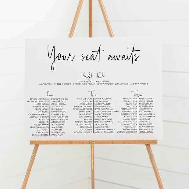 Wedding banquet seating chart three tables mounted to solid foamboard, professionally printed or printable wedding seating plans