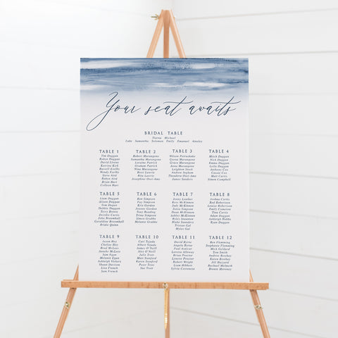Wedding seating chart or guest plan with navy blue watercolour wash and modern calligraphy font