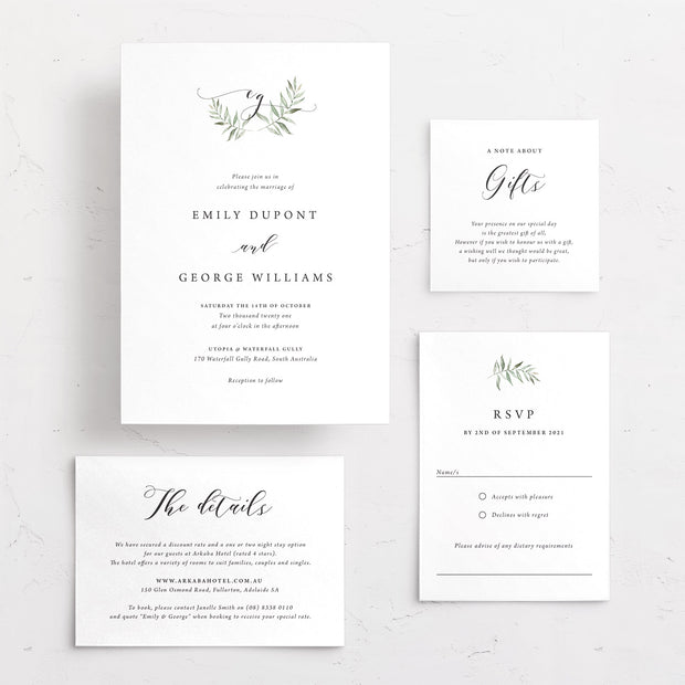 Wedding invitation with green leaf monogram in minimalistic design style