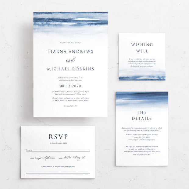 Wedding invitation suite Australia with navy blue watercolour wash background