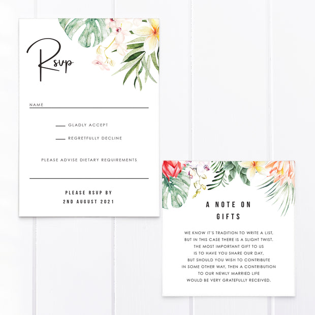 Wedding invitation with tropical flowers and leaves and modern handwritten font