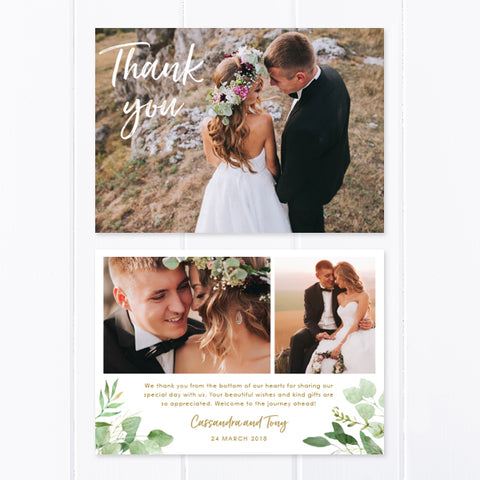 Rustic Wedding thank you card with three photos and green leafy foliage, gold text
